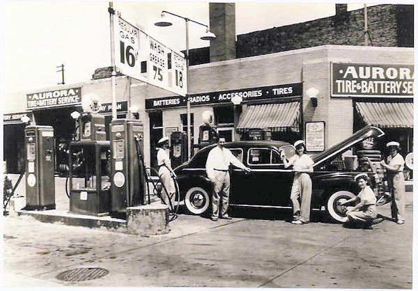 Can you guess when this picture was taken of the Aurora Tire & Battery shop?  Image from the collection of Ruth Frantz.