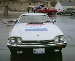 Cream-colored 1988 Jaguar car, front view