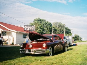 Tucker #1008 in front of Niland's Cafe in Colo, Iowa during the 2013 Lincoln Highway Centennial Tour