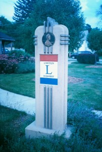 Modern Lincoln Highway Marker in DeKalb