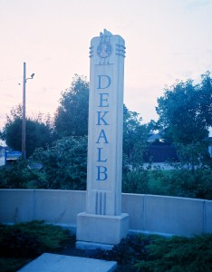 DeKalb Lincoln Highway Obelisk at Sunset