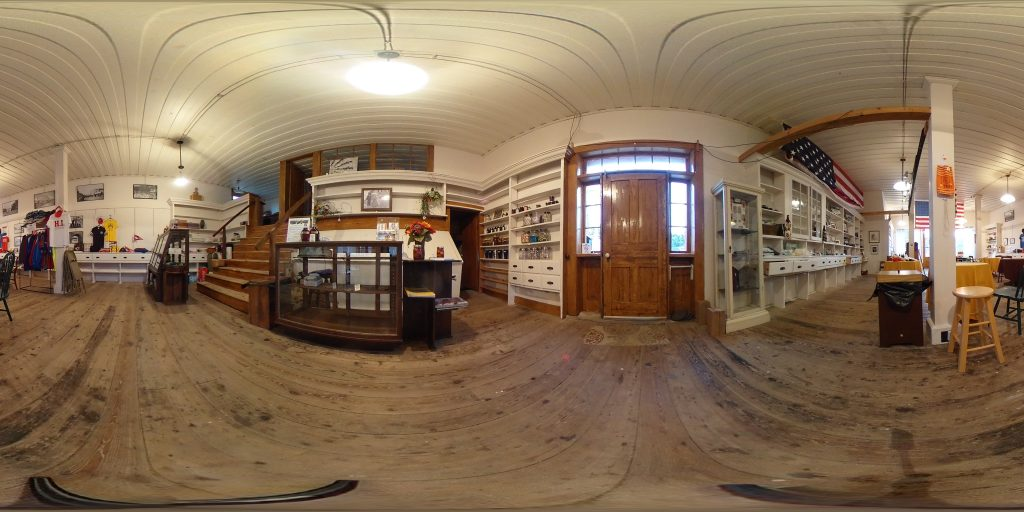 360 degree view inside the H. I. Lincoln Building, with a display case of baked goods made with real maple syrup