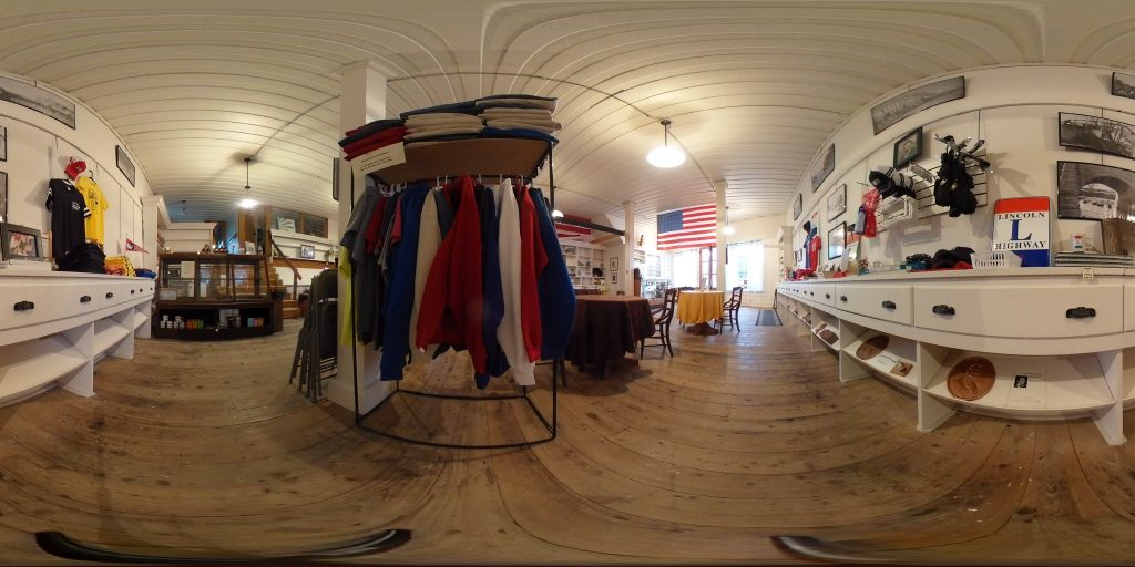 360 degree view of the inside of the H. I. Lincoln Building, with wooden plank flooring